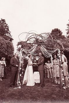 rustic wedding arbor.