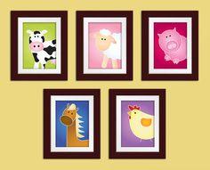 Set of 5 11x14 Farm Series Print. Farm nursery art. Childrens art. Kids art. Farm nursery decor. Farm animal wall art. via Etsy