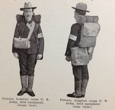 The Medic in the field at the Spanish-American war had new equipment requirements.  With the new medicines in syringe and concentrated powder or crystalline form, it was possible for stronger medicines to be packed, in much smaller bags.  This gave the medic more room to carry other supplies, and enabled him to improve upon his surgical, splint and bandage kits.