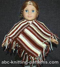 American Girl doll  poncho knitting pattern :-)