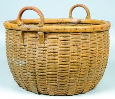 Good Mustard Yellow Painted Handled Field Basket