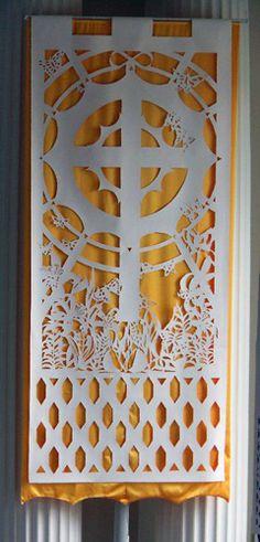 easter liturgical art - Google Search church design, church banner, art sacr, art idea, liturgical art, liturg art, church decor ordinary time, church idea, church environ
