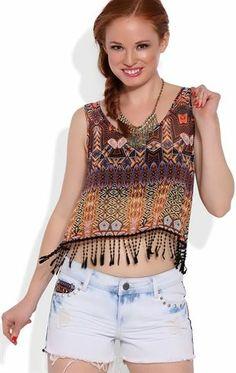 Deb Shops tribal print cropped tank with crochet fringe bottom $15.75