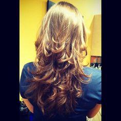 Long layered haircut.