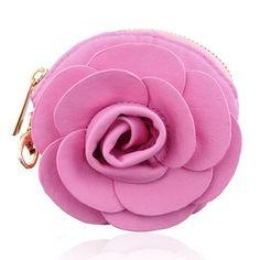 Flower Coin Purse (Pink)- Purse Clip, Multi-Use Clip Purse