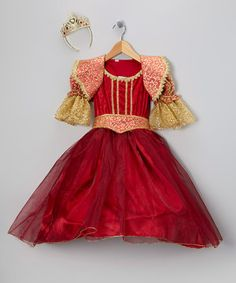 Princess paradise - Burgundy & Gold Renaissance Dress-Up Set - Girls