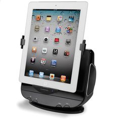 This is the docking station that rotates an iPad between portrait and landscape view from a remote control. The dock secures an iPad on three sides; its motorized rotating arm orients an iPad for optimal viewing from the included remote for watching videos. Two 5-watt, full-range speakers located on either side of the dock provide rich, clean sound.