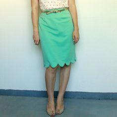 Über Chic for Cheap: Refashion: Scalloped Hem Skirt