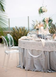 Carolyn Lace Champagne Overlay with Homestead Stone Table Linens Wild Flower Linens