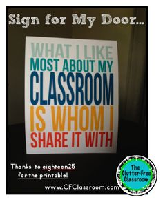Classroom Door Decor {free Subway art printable} - Clutter-Free Classroom