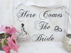 Here Comes The Bride wood sign. Wedding hand by IuliaAndAlex, $25.00