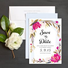 Blooming Border Save The Date Cards by Idlewild Co. | Elli