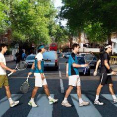 Tennis greats recreate Beatles photo