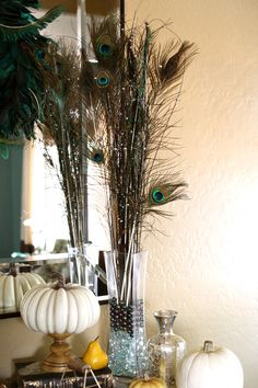 #Peacock feathers from #Goodwill, perfect for a #Fall display.  #thrift $3.19