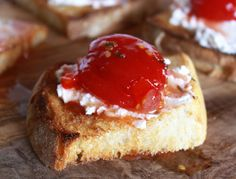 Sicilian Spicy Sweet Tomato Jam made this it's yummy. I used 1lbs cherry tomatoes roasted with garlic, 2 1/4 cup sugar, spicy pepper and basil. I also puréed. The tomatoes instead of taking the skins off