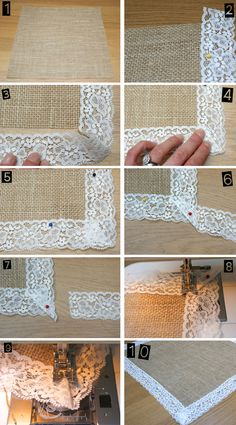 how to make hessian / burlap table runners with lace trim.
