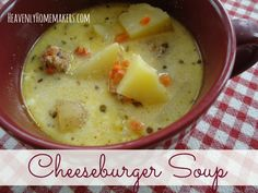 Cheeseburger Soup-sub almond milk for reg milk and radishes or cauliflower for potatoes.