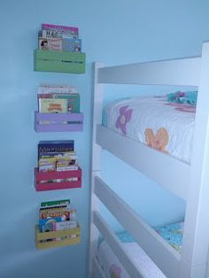 Cute (and cheap!) DIY bookshelves {Tutorial} girl room, diy bookshelv, diy bookshelf kids, kid dyi, kids bookshelves diy