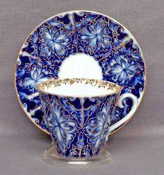Lomonosov Russian Porcelain Black Grouses Teacup and Saucer