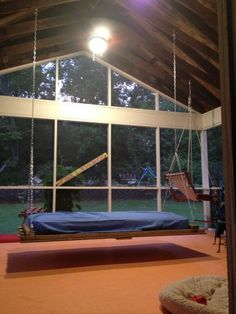 Swinging day bed on pinterest bed swings porch swings for Hanging bed construction