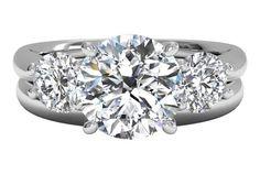 Three-Stone Diamond Engagement Ring with matching band - in Platinum (0.50 CTW)