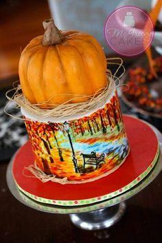 Painted Fall cake