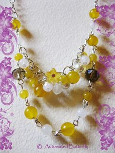 Yellow gemstone crystal beaded necklace by AutomatedButterfly, £9.00