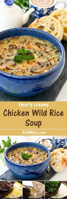 "This Chicken Wild Rice Soup is a hearty creamy soup made with cooked chicken, nutty wild rice, and mushrooms. It is a bowl of comfort any time of the year. | Food to gladden the heart at <a href=""http://RotiNRice.com"" rel=""nofollow"" target=""_blank"">RotiNRice.com</a>"