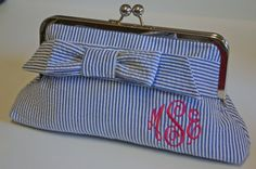 Monogrammed seersucker clutch - small wrap bow. $65.00, via etsy.