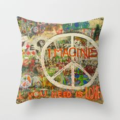 Beatles - All You Need is Love - #Peace Sign - Imagine - John Lennon #Cushion Throw #Pillow by Tara Holland