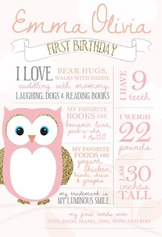 Printable birthday facts photo poster - Owl party - Pink and gold party - First birthday - Birthday stats on Etsy, $25.00