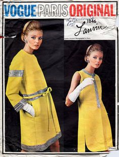 1960s Vogue Paris Original 1846 Lanvin Dress  by BessieAndMaive #60s #retro #vintage