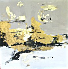 abstract painting with gold and grey