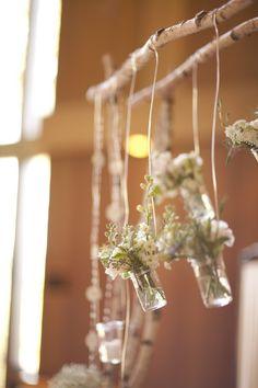 hanging mason jar wedding arch