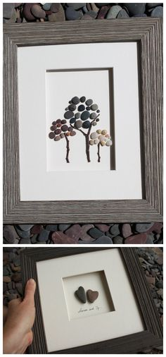 idea, frame, heart rocks, tree, rock crafts, rock art, beach, stone art, pebble art