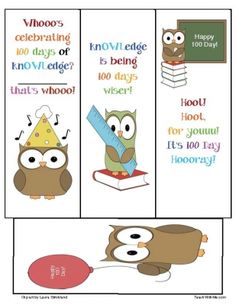 100th Day Owl bookmarks