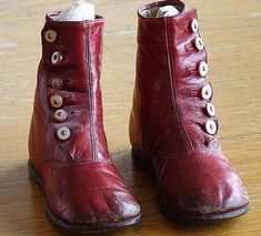 ButtonArtMuseum.com - Antique Pair 1800s Maroon Button Down High Top Childrens Shoes Mother Of Pearl Buttons