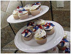 Pinwheel red white & blue cupcakes