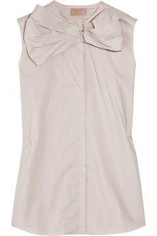 Bow-embellished cotton-taffeta shirt ~ Lanvin