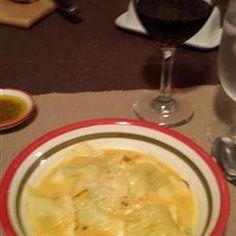 Butternut Squash Soup with Spinach Ravioli Allrecipes.com