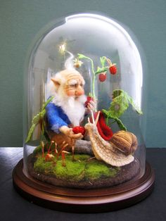 WOODLAND GNOME WITH SNAIL - HANDMADE WOOL  NEEDLE FELTED TOY IN GLASS DOME