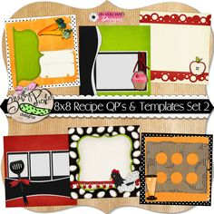 8x8 Recipe Quick Pages and Templates SET 2