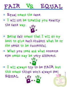 Helping Students Understand Differentiation. Works with your own children. Fair is not equal.