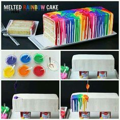 Mimicking the effect of melting crayons, a rainbow of colored ganache is dripping down the sides of a bright white cake. Cut into the cake to find specks of rainbow colors as well.