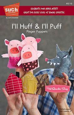 little crafts, little houses, craft sticks, felt, pattern, three little pigs, fingers, kid, finger puppets