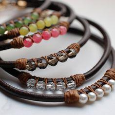 leather gem bracelets