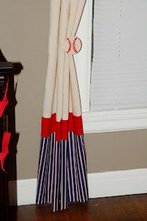 Curtains for baseball themed nursery love them they are so cute maybe I could make these!!