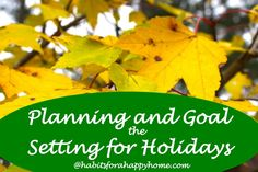 Planning and Goal Setting for the Holidays