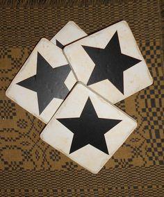 Star Set of 4 Ceramic Coaster by DownOnCrippleCreek on Etsy, $10.00