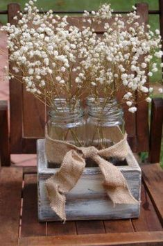 Fall decor: paint a clementine wooden box, fill with jars, use fall colored flowers, and burlap bow. On mantel?